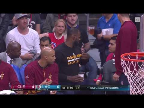 Lebron isn't playing so why not drink some some coffee on the bench
