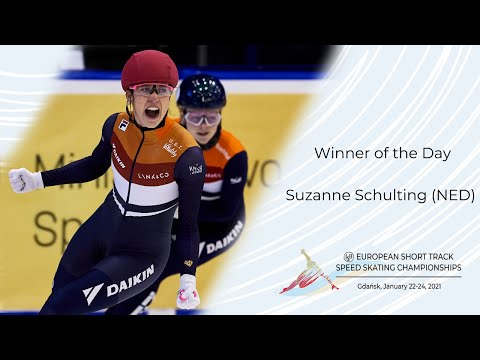 Winner of the day: suzanne schulting (ned) | isu european short track championships | gdansk 2021