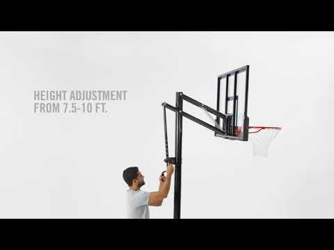 Adjusting height on the spalding exacta height basketball hoop lift system