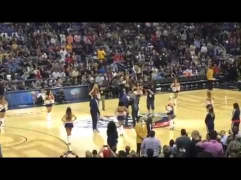 Will ferrell hits cheerleader in the face with basketball