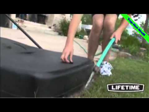 Lifetime 1221 pro court height-adjustable portable basketball system with backboard