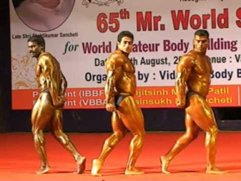 Bodybuilders in 85 kg weight classes (65th mr.world selection trial in nagpur)
