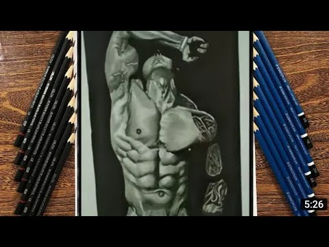 How to draw male body muscles | realistic body builder |abs|sketch |drawing|tutorial by monis miran