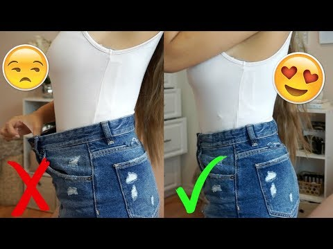 Easily downsize waist of jeans/ shorts   no sewing required