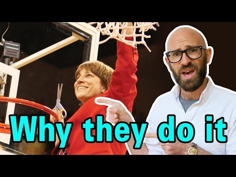 How did the tradition of cutting the nets in basketball start?