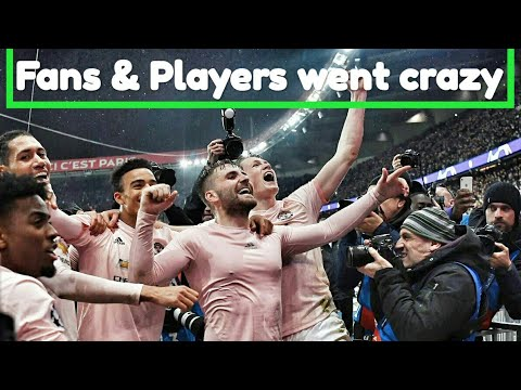 Manchester united fans and players went crazy as manchester united beat psg 3-1 to advance in cl.