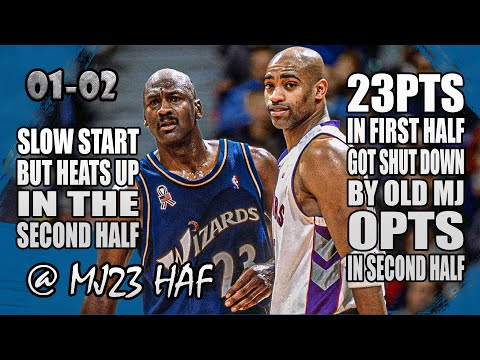 Michael jordan vs vince carter highlights (2001.12.16)-vc try to beat old mj but got owned big time!