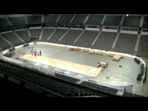 Building a basketball court at the sears centre arena