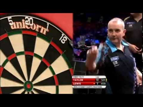 Phil taylor laughing at adrian lewis' score? - 2015 pdc sydney masters