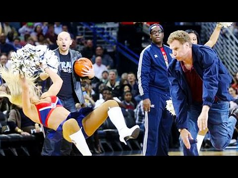 Will ferrell hits cheerleader in the face with a basketball