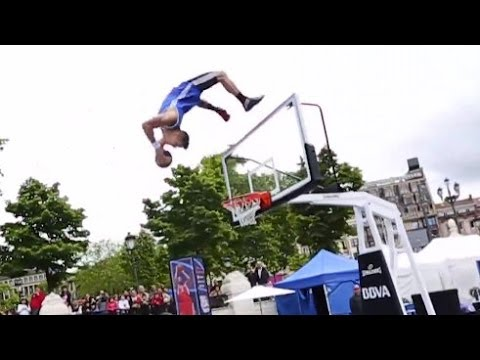 Backflip off the backboard dunk!   lords of gravity at nba 3x