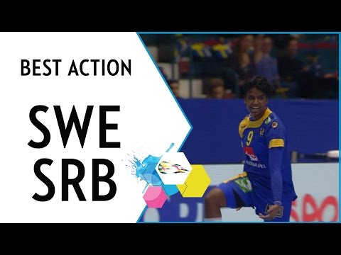 Louise, this spin shot was simply sand-tastic!   sweden vs serbia   ehf euro 2016