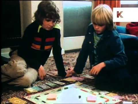 1970s boys playing monopoly, board games, children